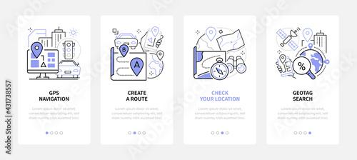 GPS navigation - modern line design style web banners
