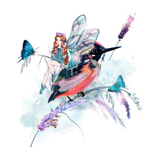 Beautiful Vector Illustration With Girl Fairy, Butterflies, Lavender Flowers And Bird