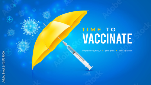 Vector design with blue coronavirus vaccine background. Safety umbrella created by vaccination. Time to get vaccinated against the Covid-19 coronavirus. - fototapety na wymiar