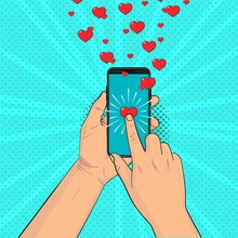 A Hand With A Smartphone Send Hearts. Pop Art Vintage Vector Illustration