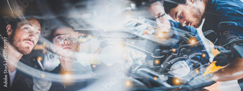 Obraz na plátne panorama banner background of mechanic working about auto car engine service, te