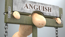 Anguish That Affect And Destroy Human Life - Symbolized By A Figure In Pillory To Show Anguish's Effect And How Bad, Limiting And Negative Impact It Has, 3d Illustration