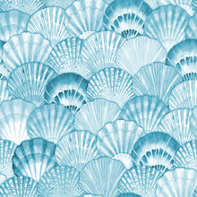 Watercolor Sea Shell Seamless Pattern. Hand Drawn Seashells Texture Vintage Ocean Background