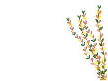 Winter Leaf Crayon Drawing Leaves White Background For Text Input.