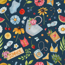 Seamless Watercolor Pattern With Lettering, Flower, Cherry, Butterfly, Camera, Bikini, Flip Flop, Berry, And Top On Dark Background. Ideal For Postcards, Greeting Cards, Wrapping And Other Design.