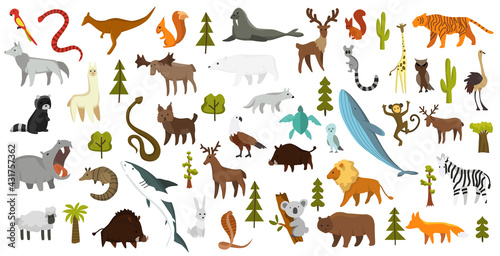 Naklejka premium Collection of cute vector animals. Hand drawn animals which are common in America, Europe, Asia, Africa. Icon set isolated on a white background