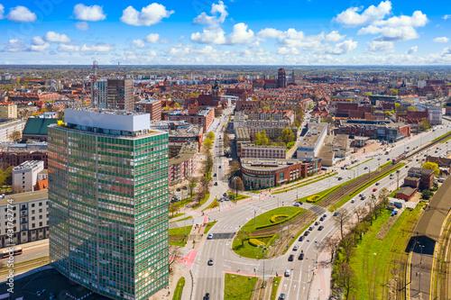 Fototapeta Aerial view of city center in Gdansk. Poland obraz
