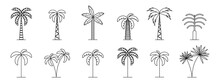 Set Of Minimal Trees Linear Icons. Vector Palm Icons Isolated On White Background.Tropical Tree Icons.Big Collection Tree.Vector Palm Tree Silhouette Icons. Linear Logos, Icons And Symbols