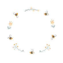 Round Doodle Frame Of Bees And Flowers. Logo Design For Honey And Bee Farms, Apiaries, And Beekeeping Products Packaging. Vector Cartoon Illustration