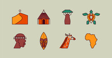 Africa Culture Travel Icon Flat Outline Cartoon Set