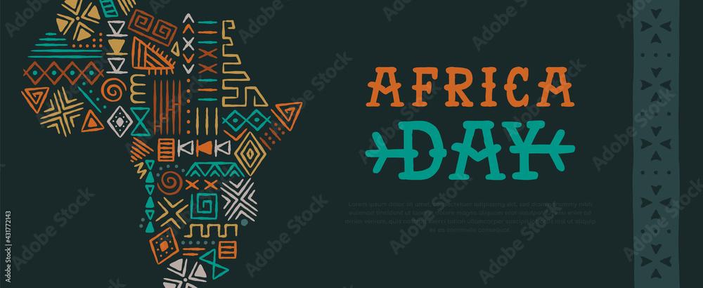 Obraz Africa Day tribal art hand drawn map banner fototapeta, plakat