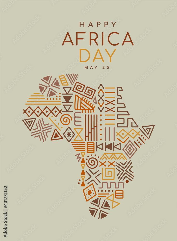 Obraz Africa Day tribal art icon cartoon african map fototapeta, plakat