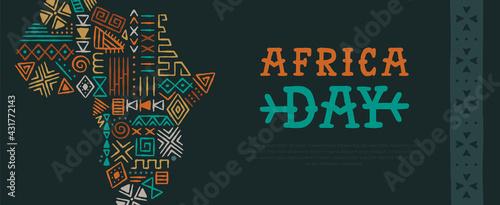 Africa Day tribal art hand drawn map banner - fototapety na wymiar