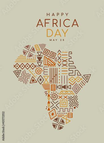 Africa Day tribal art icon cartoon african map - fototapety na wymiar