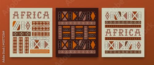 Fototapeta Africa culture ethnic tribal art african card set obraz
