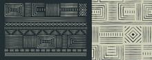 Africa Tribal Art Black White Seamless Pattern Set