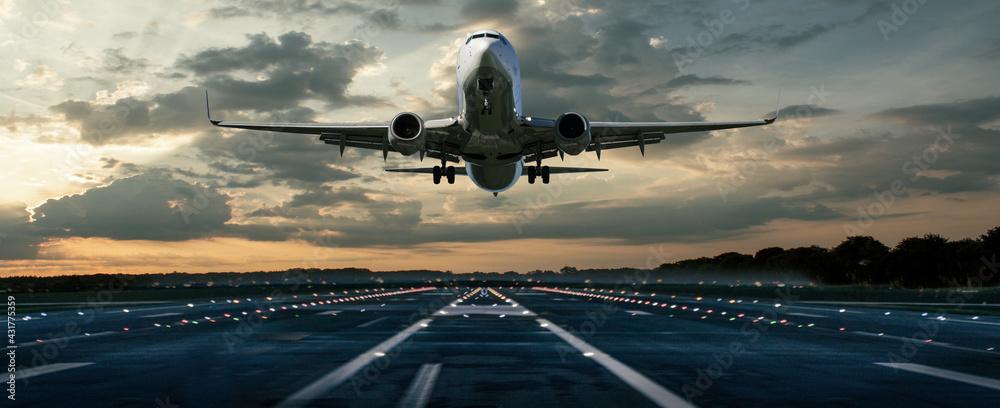 Fotografie, Obraz Flugzeug bei einer Landung