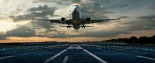 Flugzeug Bei Einer Landung