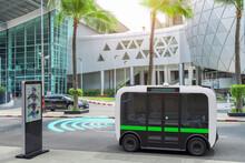 Autonomous Electric Bus Self Driving On Street, Smart Vehicle Technology Concept