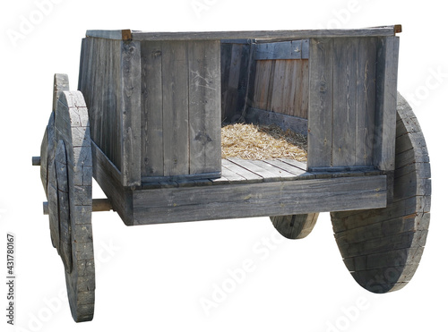 Foto the old wooden cart over white
