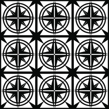 Abstract Seamless Pattern Of Black Color From Geometric Symmetric Shapes In The Form Of A Grid With An Ornament For Stencils When Printing On Fabric, Packaging Or Glass, As Well As For Interiors