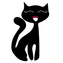 Simple Black Silhouette Of A Cat On A White Background