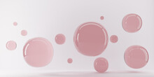 Group Of Spheres Levitate. Flying Spheres In Empty Space, Abstract Bubbles. Pink Specular Balls On Pink Background. 3D Rendering