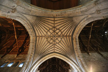 View From The Bottom At The Ceiling Of A Catholic Gothic Church