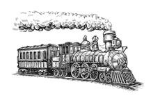 Steam Locomotive Transport Sketch. Hand Drawn Vintage Vector Illustration