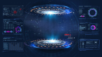 Futuristic platform. Hologram podium and digital data graphs. Blank display, podium for show product in cyberpunk style. Technology demonstration. Circle 3D lab stage with HUD elements for UI,GUI