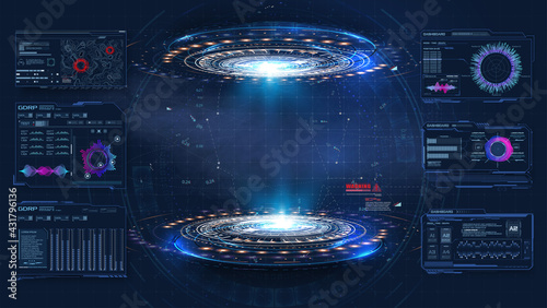 Futuristic platform. Hologram podium and digital data graphs. Blank display, podium for show product in cyberpunk style. Technology demonstration. Circle 3D lab stage with HUD elements for UI,GUI - fototapety na wymiar