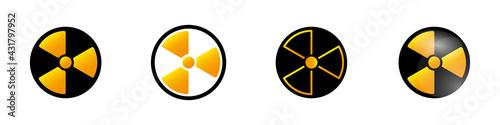 Obraz na plátně Vector set of radiation hazard icons
