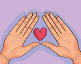 Fototapeta Sypialnia - hands lifting heart