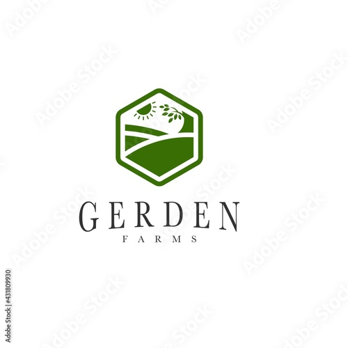 Valokuvatapetti landscape garden nature logo design vector