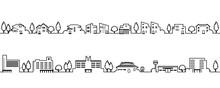 シンプルでかわいい街並みのイラスト(モノクロの線画)