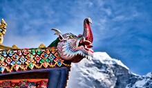 Tengboche Monastery Dragon Wood Carving, Khumbu Region, On The Mount Everest Trekking Route, Himalayas, Nepal