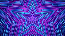 Colorful Blue Magenta Star. Geometric Abstract Background. Looped Video.