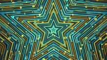 Colorful Blue Yellow Star. Geometric Abstract Background. Looped Video.