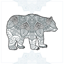 Animal Mandala. Vintage Decorative Elements. Oriental Pattern, Vector Illustration.