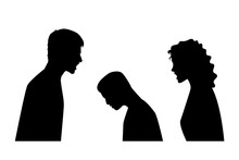 Silhouette Parents Angry With Their Children