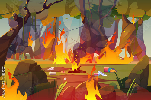 Fototapeta Fire in forest, polluted wood with raging flames and trash. Nature pollution, garbage contamination, blazing trees and waste around. Save Earth planet, ecological catastrophe Cartoon vector concept obraz