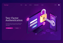 Two-factor Authentication Isometric Landing Page, Password Secure Login Verification Or Sms With Push Code Message On Smartphone Or Mobile Phone And Lock On Computer Pc Desktop 3d Vector Web Banner