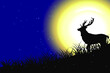 Silhouette illustration of wolf and deer in mountain