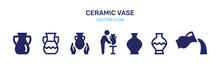 Ceramic Vase Icon Vector Set