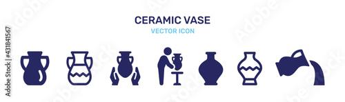 Fotografie, Obraz Ceramic vase icon vector set