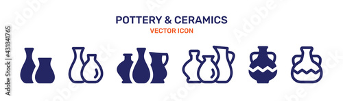 Fotografia Ceramic Vase icon set. Pottery concept. Vector illustration