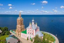 Church Of The Forty Martyrs Of Sebaste Under Construction And Lake Pleshcheyevo On Sunny Summer Day. Pereslavl-Zalessky, Yaroslavl Oblast, Russia.
