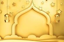 Landscape Islamic Greeting Card Or Banner With Center Composition Blank Copyspace 3d Conceptual Illustrative Abstract Arabic Arch Background Rendering Ramadan Kareem Eid Al Fitr Mubarak Theme