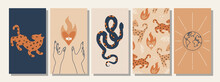 Set Of Hand Drawn Abstract Elements In Boho Style, Modern, Trendy Colors, Minimalism Art.