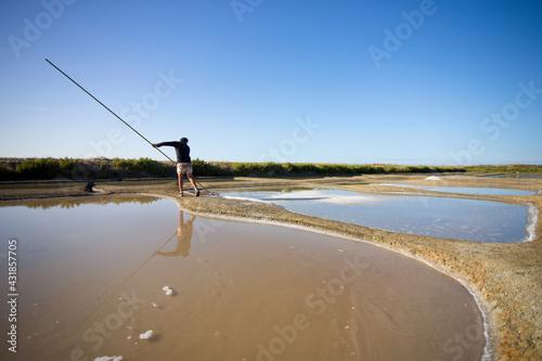 Fototapeta Saunier ou paludier récoltant le sel de mer dans les marais salant en France